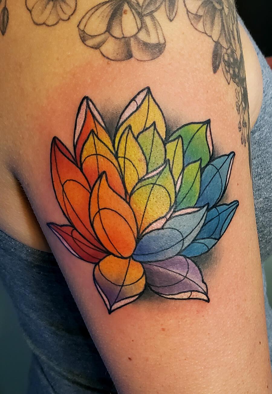Colorful Lotus Tattoo